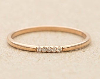Five Diamond Solid 14K Gold Wedding Band Stacking Ring AD1135