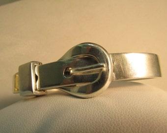 "Fashionable Sterling .925 Buckle Bracelet 8.25"" 9mm 39.9g SALE! #S112"