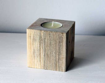Tealight candle holder | Made from reclaimed wood