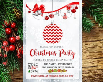 Christmas Party Invitations, Holiday Party Invitations, Christmas Party Invite, Christmas Party Printable, Christmas Card, Holiday Printable