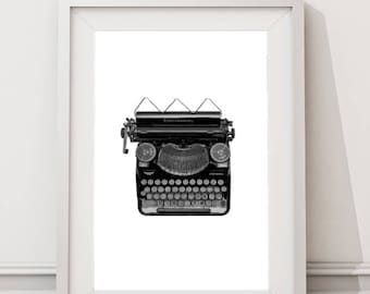 Vintage Typewriter Print, Still Life Photography, Instant Download Large Art Print, Minimalist Black and White Photo, Last Minute Gift