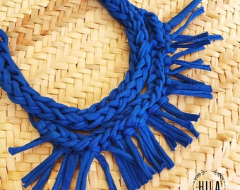 Braided blue necklace