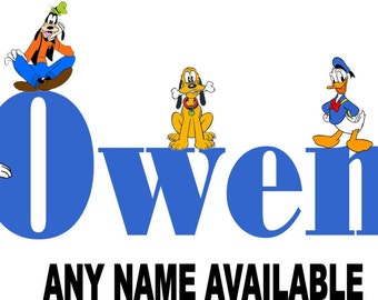 Mickey Mouse and Friends Personalized Name Iron on Transfer