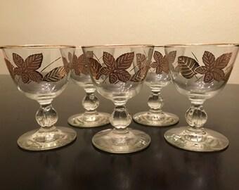 Vintage Libbey Gold Leaf Cordial Glasses, Set of Five