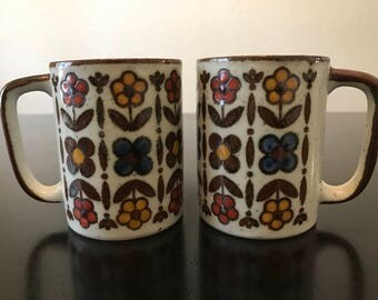 Vintage Stoneware Mugs/ Flower and Speckle Stoneware Coffee Mugs/ 1970s Floral Mugs