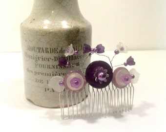 Lilac Flower and Button Hair Comb - Free UK delivery