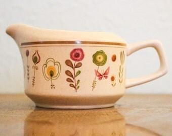 Vintage Lenox Temper-Ware Sprite Creamer ~ Floral Design With Striped Border ~ Scandinavian Flowers Botanical Print Lenox TemperWare