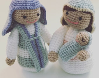 Nativity Scene - Crochet Christmas Decor - Joseph, Mary and Baby Jesus - Presépio