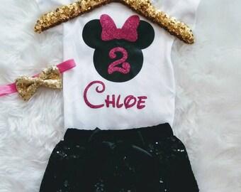 Minnie Mouse Birthday Outfit 2nd Birthday Shirt Pink Black Minnie Second Birthday Girl Disney World 2 Birthday Shorts Personalized Birthday