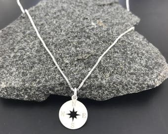 Silver Compass Necklace/Graduation gift/Sterling Silver/Travel Jewellery/Enjoy The Journey/Good Luck/Dainty Compass Necklace