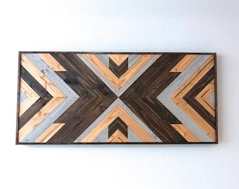Reclaimed Tribal Wood Wall Art | Geometric Sign | Southwest | Aztec Sign | Rustic | Wall Decor | 32 x 15