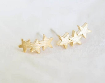 Stars-plated earring 18 k solid, Chic and minimalist, jewelry, gift, S079