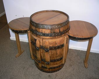 Whiskey Barrel Cabinet/Table with two Side Tables