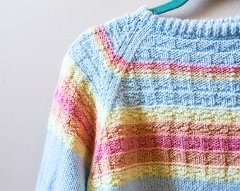 Rainbow hand knit sweater
