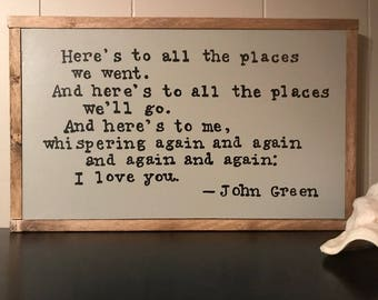 I Love You Over and Over Again (John Green quote) SIGN