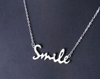 Necklace Silver 925 diamond Smile synthetic wife Word modern trendy jewelry