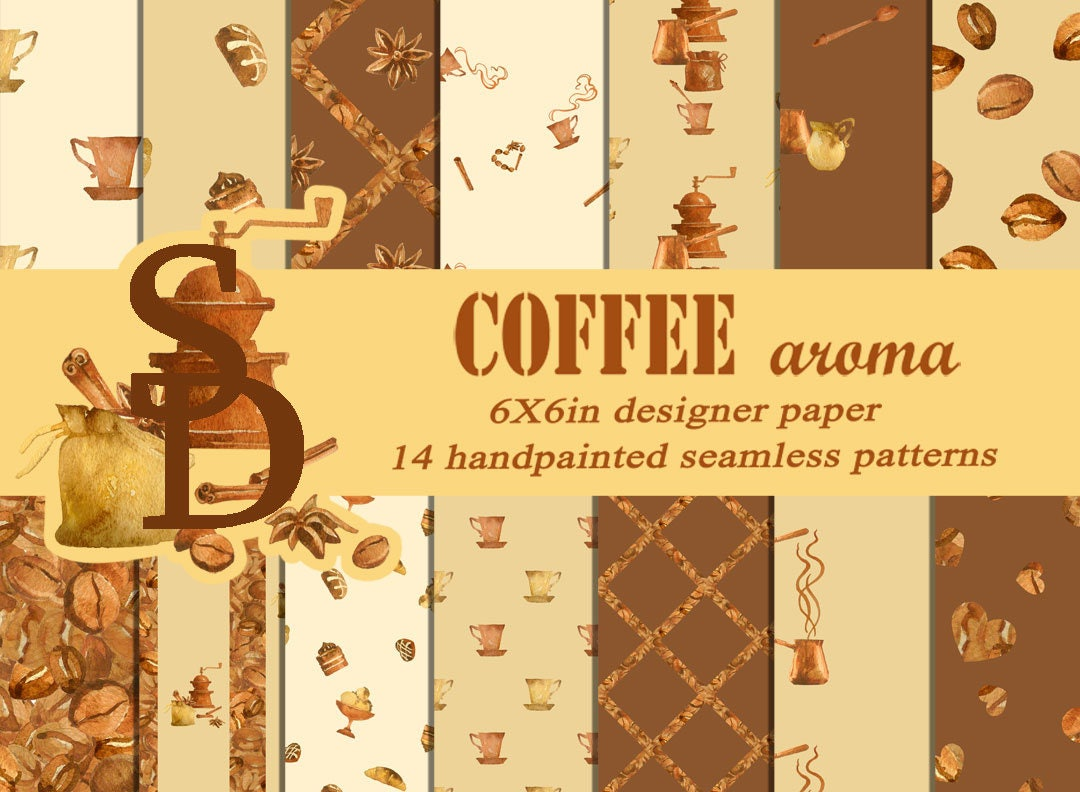 coffee digital paper hand painted seamless patterns printable café