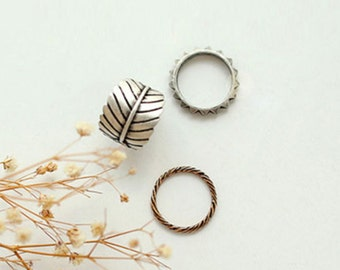 3pcs/Set Vintage Retro Leaf Feather Knuckle Party Club Rings Jewelry Gift