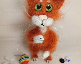 Cat Red cat Stuffed animal  Gift for her Art  Plush cat  Gift  Kitten  Miniature cat Figurine cat Gift for mom Best friend Gift  Toy cat