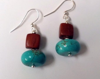 Turquoise and Wood Earrings  (E14-086)