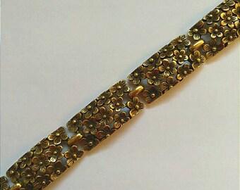 Vintage Gold Black Floral Bracelet, Accessories, Fashion Jewelry, Boutique