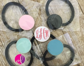 Single Monnogrammed Enamel Disc Hair Ties/Ponytail Holders