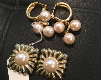 Two pairs of vintage Les Bernard faux pearl gold tone earrings