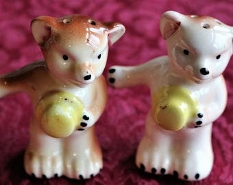 Bears with Yellow Hats Vintage Salt and Pepper Shakers