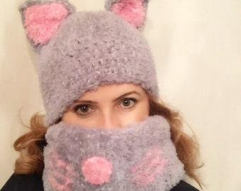 Sale kitty hat,hand-knit kitty hat and cowl set,knit kitty hat , kitty hat ,cat hat , knit cat hat , puusy cat hat