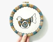 """6"""" Embroidery Folk Art Bird - Hand Dyed Yarn Embroidery Hoop Art in Earthy + Grey Blue Tones Hand Stitched by Creatiate Stitches"""