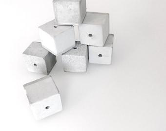 Handmade concrete pearls square (4pcs.) 16 mm - handmade beads of concrete squares (4 PCs.) 16 mm