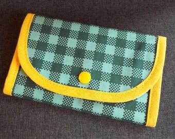 Retro wallet purse 70s diamond turquoise