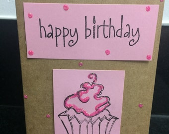 Pink Cupcake Birthday Card