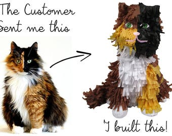 Cat Portrait Custom Pinata for Pet Lovers, Personalized Decoration and Gift, Fillable, Paper Mache Molded