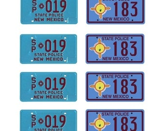scale model New Mexico State Police car license tag plates