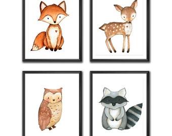 Woodland Nursery Decor, Woodland Nursery Wall Art, Baby Room Wall Art, Woodland Animal Prints, Digital Prints, Instant Download, Set of 4