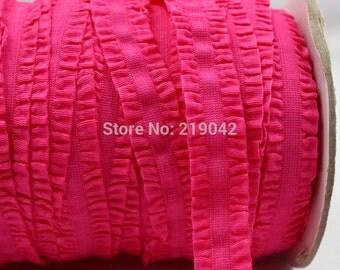 Hot Pink Ruffle Frilly FOE Fold Over Elastic 16mm per Yard