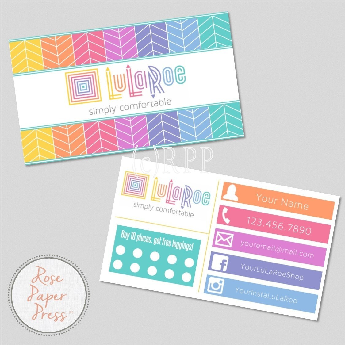 Lularoe business cards herringbone by rosepaperpress on etsy for Etsy lularoe business cards