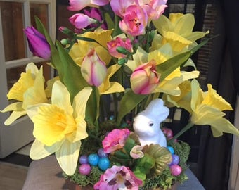 Artificial Flower Arrangement, Spring, Easter, Tulips Daffodils Freesia Pansies Iris, Home Decor