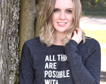 All Things Are Possible With Coffee And Mascara Sweatshirt, Women's Sweatshirt, Graphic Sweatshirt, Girls Sweatshirt, Gifts For Her,