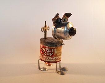 Found Object Robot Dog - Steampunk Sculpture - Repurposed Recycled Art - Metal Art - Junk Bot