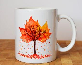 Autumn Leaf Tree Mug, Leaves Falling Mug, Tree Mug