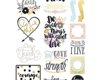 Prima Flowers PHRASE PLANNER STICKERS Love Faith Scrap 589851