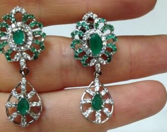 Vintage Style Earrings, Emeralds and Diamond Vintage Style Earrings, Super Glamorous Earring, Hollywood Golden Age Earrings