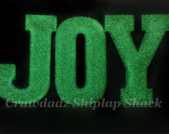 JOY Glitter Letters, JOY Wooden Letters, Christmas Decor, Christmas Deckrations, Christmas Party, Christmas for the Home, Wood Letters, MTO