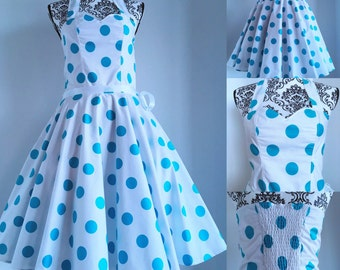 Pin up dress - sweetheart neckline - white background and teal dots - sizes XS to 5XL