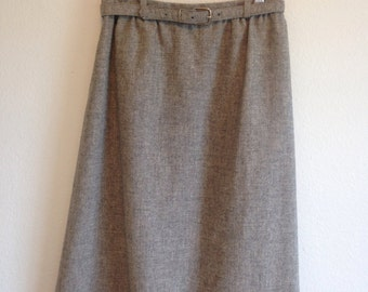 Vintage knee-length belted gray grey wool xs small skirt