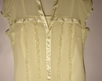 Vintage Womens Blouse/ Cream Blouse With Top/ Summer Blouse/ Party Blouse/Transparent Blouse/ V Neck/ Button Up/ Size  M/ UK 12