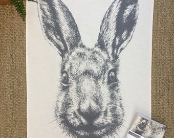 Hare natural cotton tea towel from pencil drawing