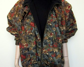 Super cool geek chic brown floral 1980's/90's bomber jacket. (free size)